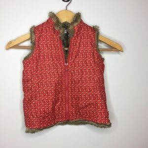 Baby GAP poppy red floral faux fur vest 2T toddler